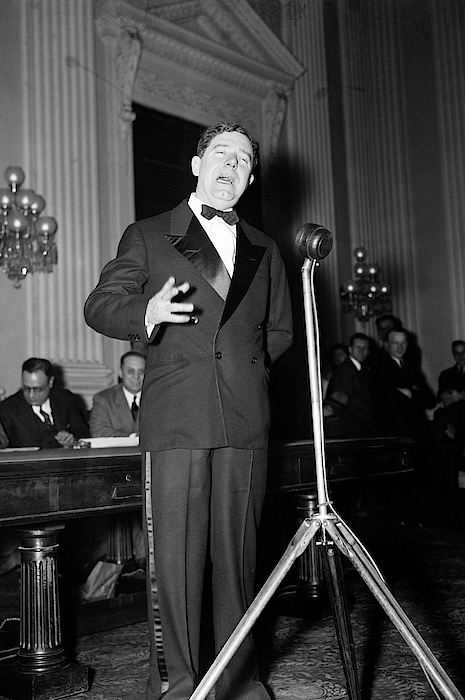 Huey Long Speaking Into Microphone - 1935 by War Is Hell Store